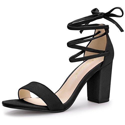 (Allegra K Women's Lace up Black Sandals - 7 M US)