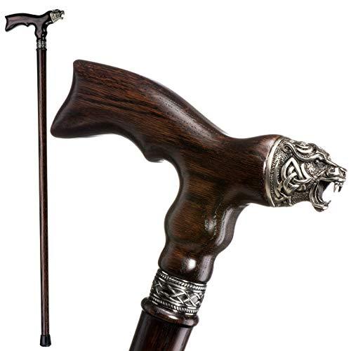 Unique Wooden Walking Cane for Men - Celtic Bear - Fancy Wood Canes Carved Walking Stick (Fancy Walking Sticks Canes)