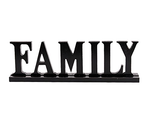 YK Decor Wooden Family Words Decorative Sign Free Standing Table Top Decoration Cutout Wood Letter Art Home Decor Black