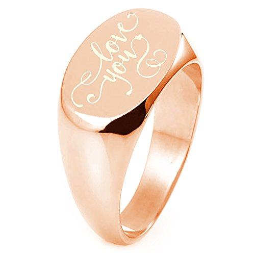 Oval Swirl Ring - Rose Gold Plated Sterling Silver Love You Calligraphy Swirl Engraved Oval Flat Top Polished Ring, Size 8