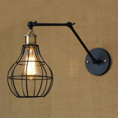 hua Pearl Shape Cage 1 Light Adjustable Wall Sconce in Black Finish ()