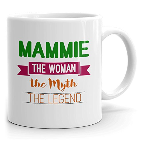 Personalized Mammie Mug - The Woman The Myth The Legend - Gifts for Women, Wife, Mom, Girlfriend - 11oz White Mug - Green