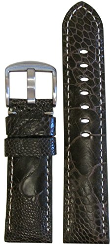 24mm Panatime Brown Genuine Ostrich Leg Watch Band with Matte Finish and White Stitching 24/22 125/75