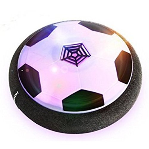 Hover Ball Air Power Soccer Disc Hover Soccer Football with Powerful LED Light, Gift for Boy and Girls, Training Football, Indoor& Outdoor Games (WHITE) ()