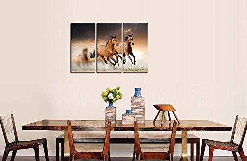 Amazon.com: Canvas Print Wall Art Painting For Home Decor Running Wild  Horse Brown Horses Galloping In Sunset 3 Piece Panel Paintings Modern  Giclee Artwork ...
