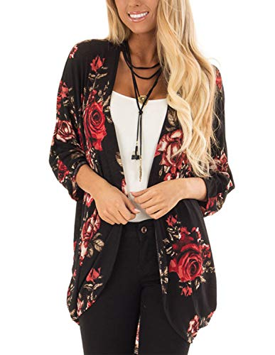 Women's Loose Blouse Open Front Kimono Cardigan Sweaters Irregular Hem Floral Cover up Capes