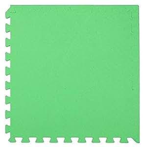 ZTMTOYS Interlock EVA Foam Floor Mat 100cmx100cmx1.5cm green Color Plain Exercise Puzzle Mat for kids Activity.