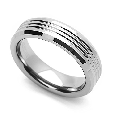 (Double Accent 6MM Comfort Fit Tungsten Carbide Wedding Band Brushed Stripe Beveled Edges Ring (7 to 14), 10)