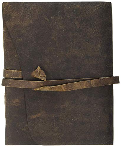 Leather Journal Unlined Writing Note Book, Hand Crafted, Traveler's Journal, Men & Women Personal Diary, Antique Genuine Soft & Vintage Brown Leather 7 x 5 Inches