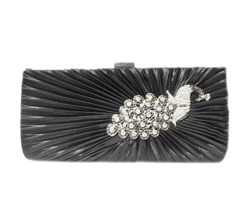 TdZ Peacock Rhinestone Party Clutch 10-inch w/Strap (Black), Bags Central