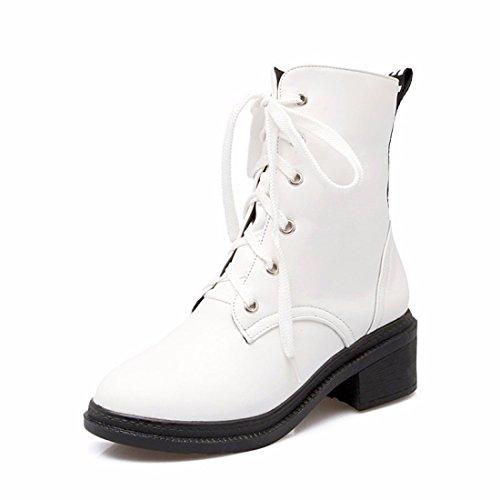 El otoño y el invierno la mujer tie UPS, Martin botas, cilindro corto botas casuales de estudiantes white