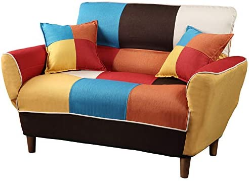 Contemporary Colorful Loveseat Foldable Split Back Upholstered Sofa Couch Sleeper Apartment Sofa Bed - the best living room sofa for the money