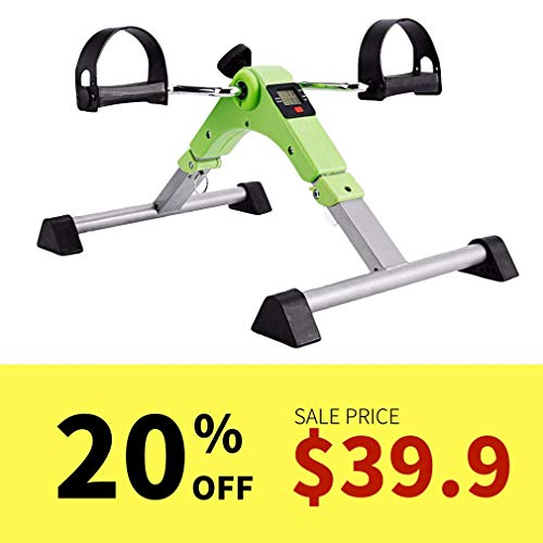SYNTEAM Foldable Pedal Exerciser with LCD monitor bike exercise machine for Seniors-Fully Assembled, No Tools Required(Green) by Synteam (Image #7)