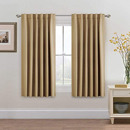 H.VERSAILTEX Ultra Soft Blackout Curtains, Back Tab/Rod Pocket Thermal Insulated Window Panel Drapes - 2 Panels Set- Latte Solid Pattern, 52x63 Inch
