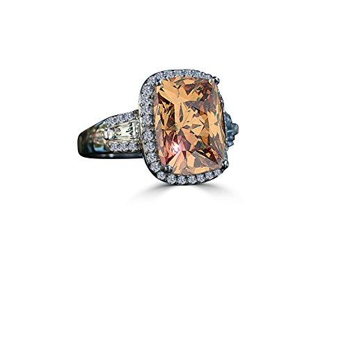 Diamond Veneer - 8 Ct. Cushion Radiant Center Halo Setting Side Tapered Baguettes Simulated Diamond Ring (Champagne, 7) Champagne Diamond Simulated Ring