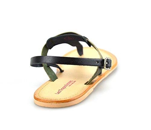 Ladies Womens Leather Flat Heel Slingback Summer Toe Post Sandals Shoes Black Olive D5BIEdXt