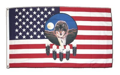Misc. 90 x 150 cm Flagge USA Feder mit Wolf