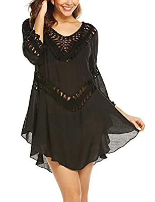 ELOVER Women Bikini Cover Ups Chiffon Coverups Crochet Smock Hollow Out Beach Dress