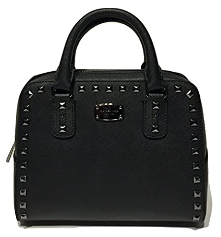 Michael Kors Saffiano Stud Small Satchel Limited Edition Black/Black Hardware (Watches Michael Kors In Clearance)
