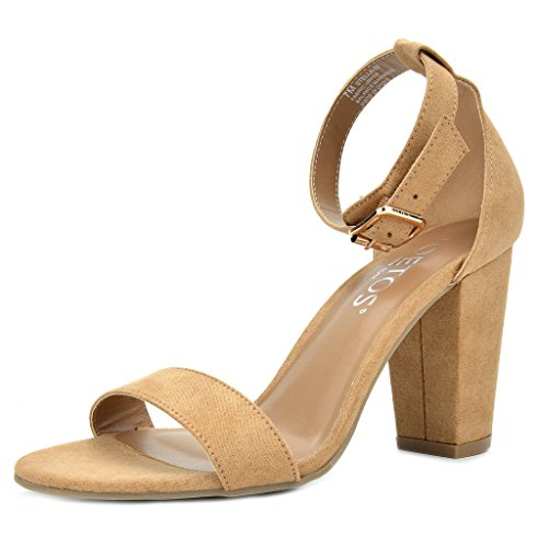 (TOETOS Women's Stella-02 Nude Open Toe Mid Chunky Heel Pump Sandals - 8.5 M US)