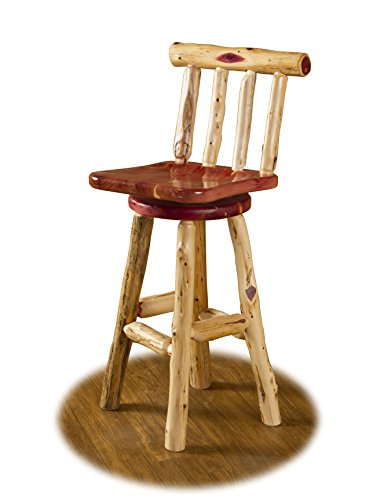 Rustic Red Cedar Log 24' Counter Height Swivel Bar Stool with Back-Amish Made USA