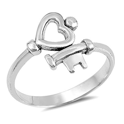 Heart Key Love Promise Ring New .925 Sterling Silver High Polish Band Size 8