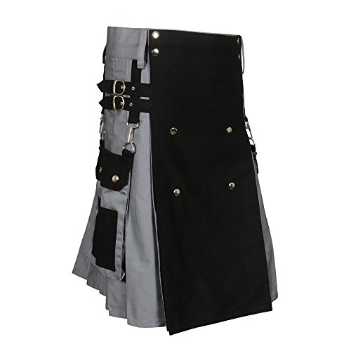 Scottish Black & Gray Two Tone Utility Kilt (Belly Button Measurement 40)