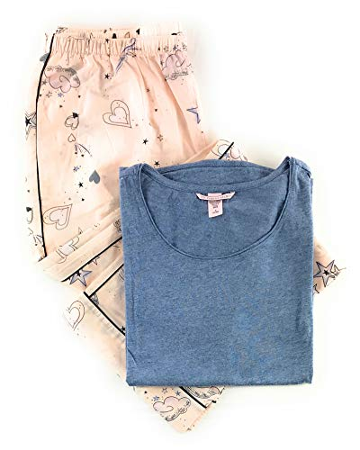 - Victoria's Secret Pajama Set Tee and Pant Medium Light Blue/Light Pink Hearts Stars
