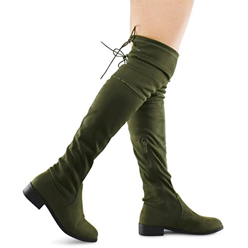 Side Laces Zipper (Premier Standard Women's Fashion Comfy Vegan Suede Block Heel Side Zipper Back Lace Thigh High Over The Knee Boots, TPS Olympia-14 Olive Size 9)