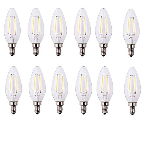 EcoSmart 25-Watt Equivalent B11 Dimmable Energy Star Clear Filament Vintage Style LED Light Bulb Daylight (12-Pack)