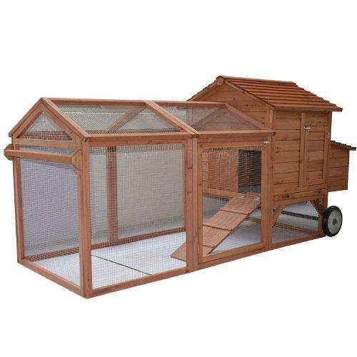 Pawhut-96-Wheeled-Tractor-Hen-House-Chicken-Coop-w-Run