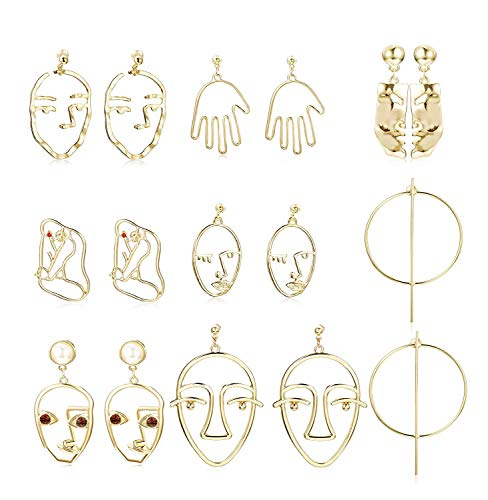 Earrings Picasso (Hanpabum Face Shaped Drop Dangle Stud Earrings for Women Statement Earrings Dangle Hollow Out Punk Style (8PAIRS))