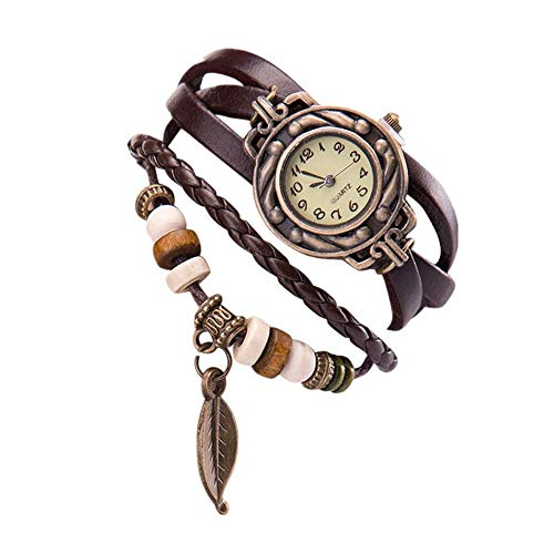 Promise Jewelry, Muranba Women Girl Vintage Watches, Bracelet Wristwatches Leaf Pendant Coffee