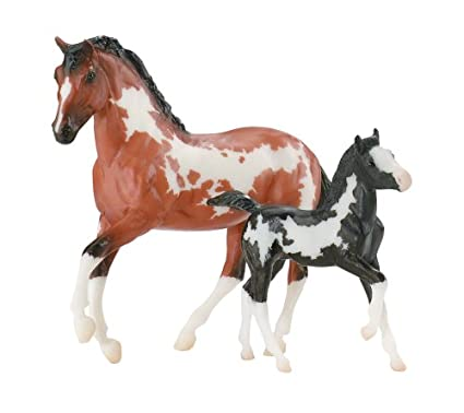 amazon com pinto mare and foal blood bay overo and black overo