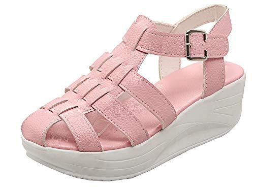 VogueZone009 Women Open Toe Buckle Pu Solid Kitten-Heels Sandals,CCALP012155 Pink