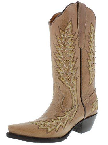 Stivali Da Cowboy In Pelle Con Borchie Da Cowboy E Oro Da Donna Professionali