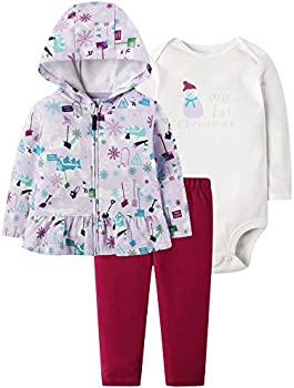 Herimmy Baby Girls' 3-Piece My 1st Christmas Long Sleeve Outfit Set