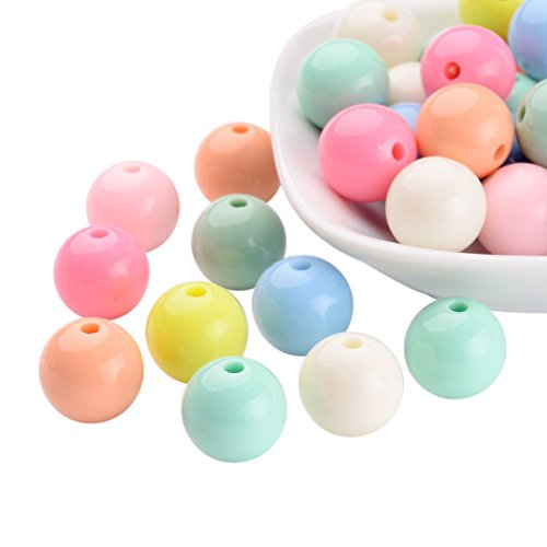 Pandahall 50 PCS Mixed Color Solid Chunky Bubblegum Acrylic Ball Beads 14mm Round Bead for Jewelry Making