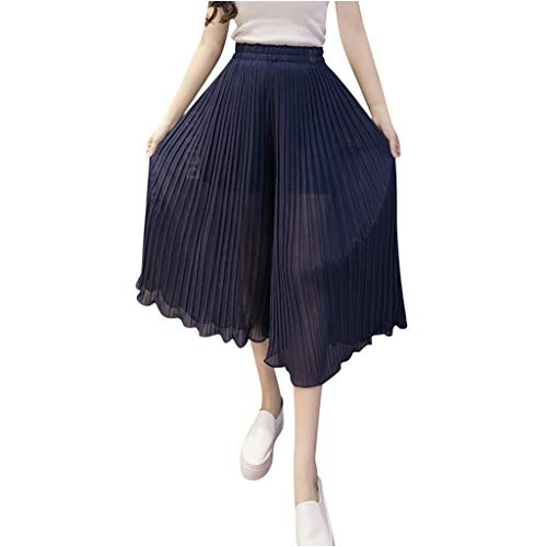 UOFOCO Fashion High Waist Wide Leg Pants Women Casual Stretch Solid Pleated Trousers Navy