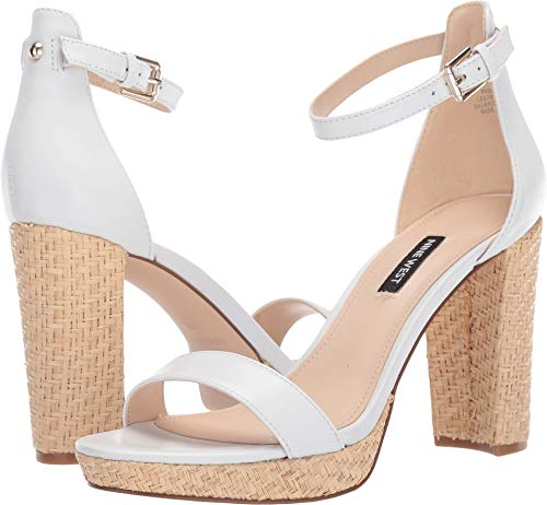 (Nine West Women's Dempsey Heeled Sandal White 7.5 M US)