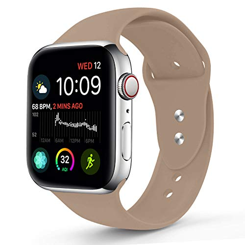 Sworddy Sport Band Compatible with Apple Watch 42MM 44MM,Soft Silicone Replacement Strap Compatible for Apple Watch Series 4/3/2/1 [S/M Size in Walnut Color] ()