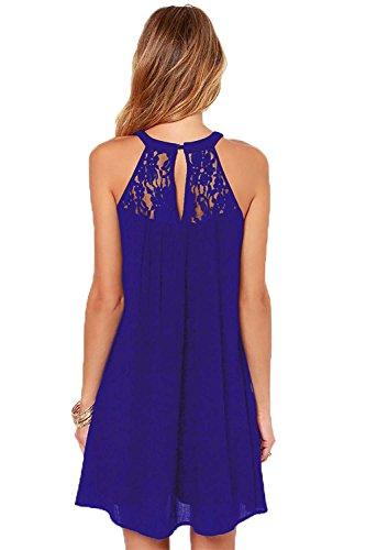 Blue Patchwork Mini Women's Loose DREAGAL Lace Chiffon Casual Sleeveless Dress tRzwWfWqF