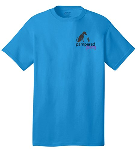 Pampered Pets Logo on Front and Slogan on Back T-Shirt, Neon Blue, X-Large
