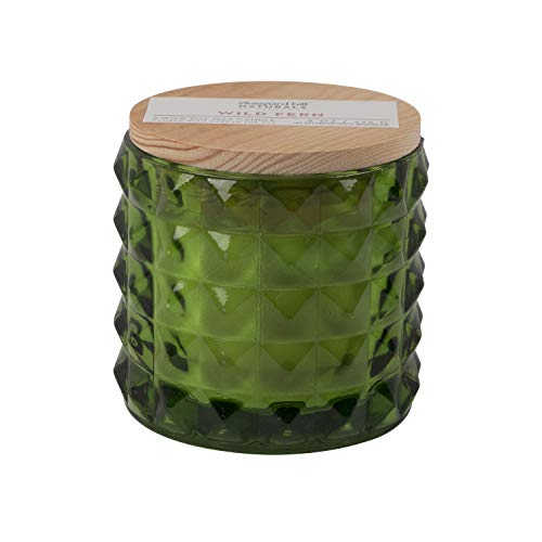 Vineyard Hill Naturals Faceted Glass 3-Wick Scented Candle, 8-Ounce, Wild Fern