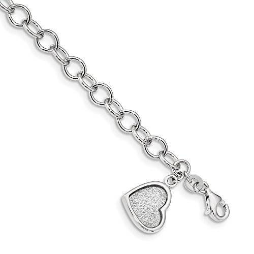 925 Sterling Silver Glitter Enamel Heart Bracelet 7.5 Inch Fancy/love Fine Jewelry Gifts For Women For Her ()