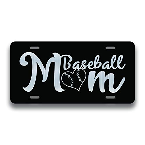 DHDM Baseball Mom License Plate Tag Vanity Novelty Metal | Etched Aluminum | 6-Inches by 12-Inches | Car Truck RV Trailer Wall Shop Man Cave | VLP536