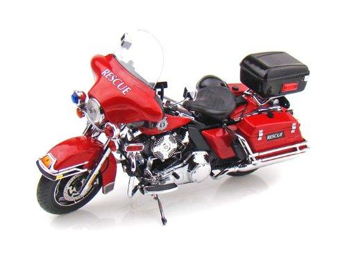 ダイキャスト バイク 2010 ハーレーダビッドソン FLHTP Electra Glide 消防 レッド 1/12