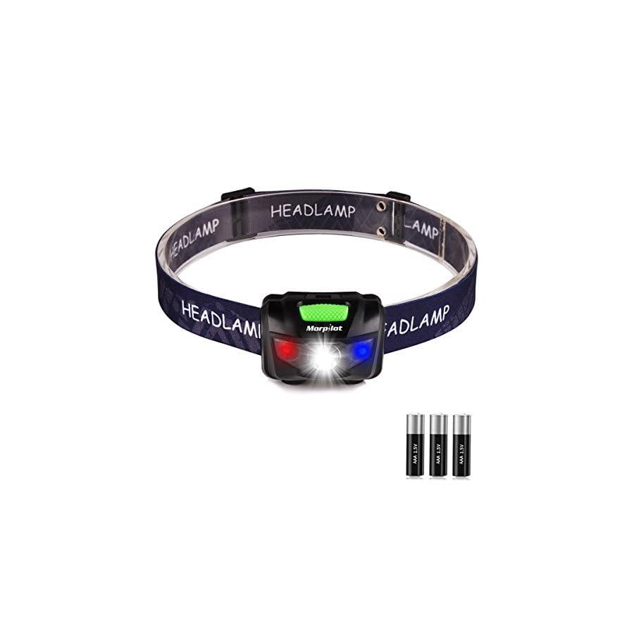 Morpilot LED Headlamp, 5 Modes Emergency Flashlight Headlight Battery Powered Head Light Waterproof Lightweight with SOS Strobe for Camping,Hurricane,Caving,Hiking,Walking