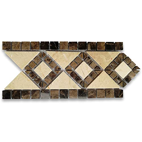 Stone Center Online Venice Emperador 4x7.5 Marble Mosaic Border Listello Tile Polished ()