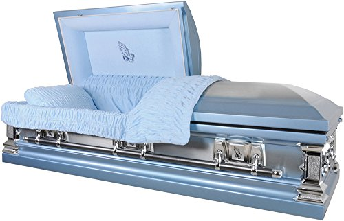 Overnight Caskets 'Praying Hands' Monarch Blue Finish With Blue Velvet Interior 18 Gauge Metal Casket Funeral Coffin